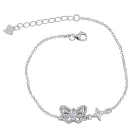 ELANZA AAA Simulated White Diamond (Mrq) Butterfly Bracelet (Size 6.5 with 1 inch Extender) in Rhodium Plated Sterling Silver