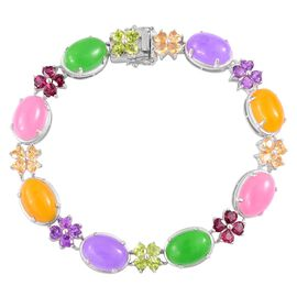 Limited Edition - Yellow, Pink, Purple and Green Jade (Ovl), Amethyst, Hebei Peridot and Multi GemStone Bracelet (Size 7.5 ) in Rhodium Plated Sterling Silver 58.500 Ct.
