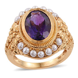 Amethyst (Ovl 5.50 Ct), Fresh Water White Pearl Ring in 14K Gold Overlay Sterling Silver 7.500 Ct.
