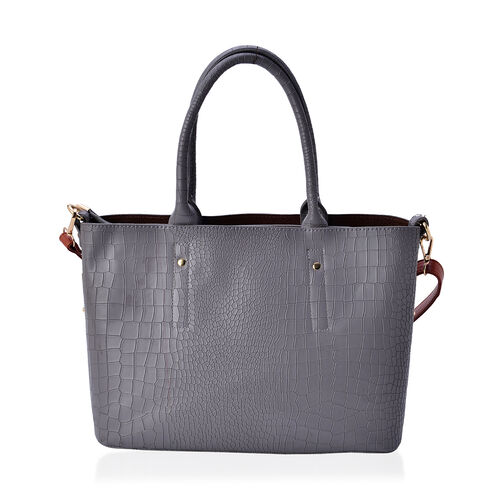 Set of 2 - Rock Pattern Dark Grey Colour Large with Hanging Pouch and Chocolate Colour Small Tote Bag (Size 31x23x14 Cm and 29x19x12 Cm)