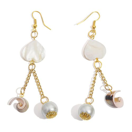 Jewels of India Mother of Pearl and Glass Pearl Double Drop Hook Earrings