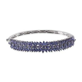 Hidden Diamond and  AA Tanzanite (Rnd), Bangle (Size 7.75) in Platinum Overlay Sterling Silver 10.600 Ct.