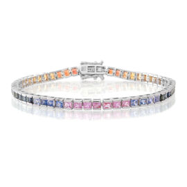 AAA Multi Sapphire (Sqr) Tennis Bracelet (Size 7.5) in Rhodium Plated Sterling Silver 8.250 Ct.