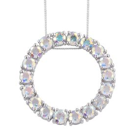 Mercury Mystic Topaz (Rnd) Circle of Life Pendant With Chain in Platinum Overlay Sterling Silver 9.750 Ct.