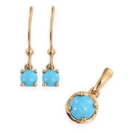 Arizona Sleeping Beauty Turquoise (Rnd) Hook Earrings and Pendant in 14K Gold Overlay Sterling Silver 1.250 Ct.