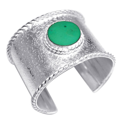 Simulated Emerald Cuff Bangle (Size 7.5) in Silver Tone