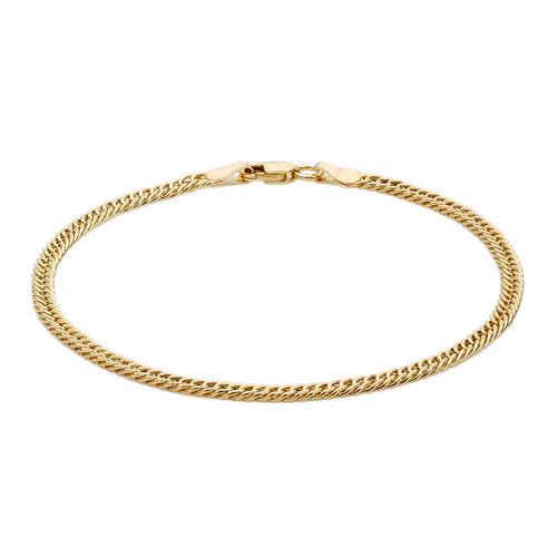 Close Out Deal 9K Y Gold Double Flat Curb Bracelet (Size 7.5), Gold wt 3.90 Gms.