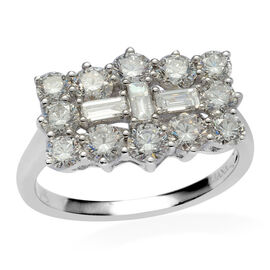 ILIANA 18K W Gold IGI Certified Diamond (Bgt) (SI/ G-H) Boat Cluster Ring 2.000 Ct.