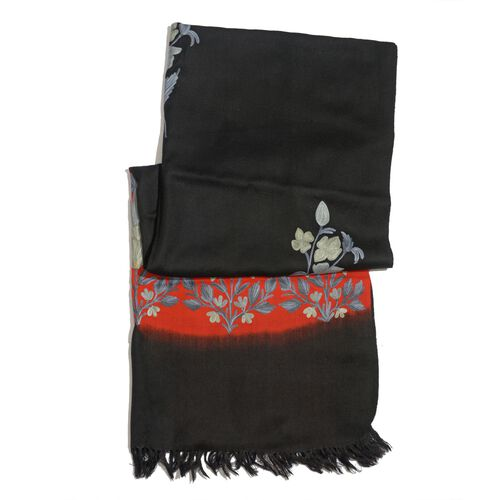 100% Merino Wool Multi Colour Flowers Embroidered Black and Red Colour Scarf (Size 190x70 Cm)