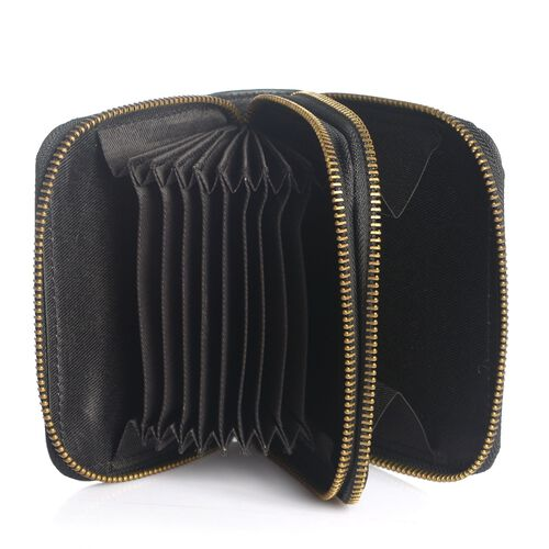 Genuine Leather RFID Blocker Black Colour Ladies Wallet (Size 12x11x2 Cm)