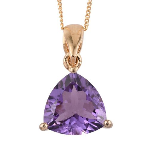 (Option 2) AA Lusaka Amethyst (Trl) Solitaire Pendant With Chain in 14K Gold Overlay Sterling Silver 4.000 Ct.