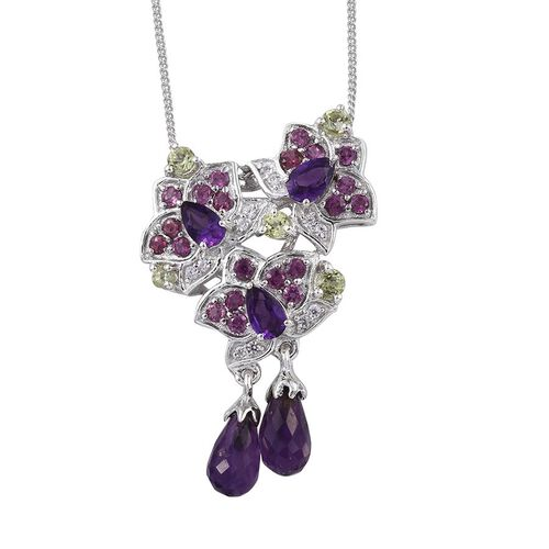 GP Amethyst, Hebei Peridot, Rhodolite Garnet, Natural Cambodian Zircon, Lusaka Amethyst and Kanchanaburi Blue Sapphire Pendant With Chain in Platinum Overlay Sterling Silver 4.250 Ct.