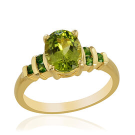 Hebei Peridot (Ovl 2.25 Ct), Russian Diopside Ring in 14K Gold Overlay Sterling Silver 2.500 Ct.