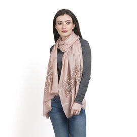 Limited Edition Designer Inspired Pink Colour Scarf with Sequins Work on Border (Size 180x70 Cm)