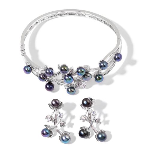 Fresh Water Peacock Pearl and Simulated White Diamond Bangle (Size 7.50) and Earrings (with Push Back) in Silver Tone