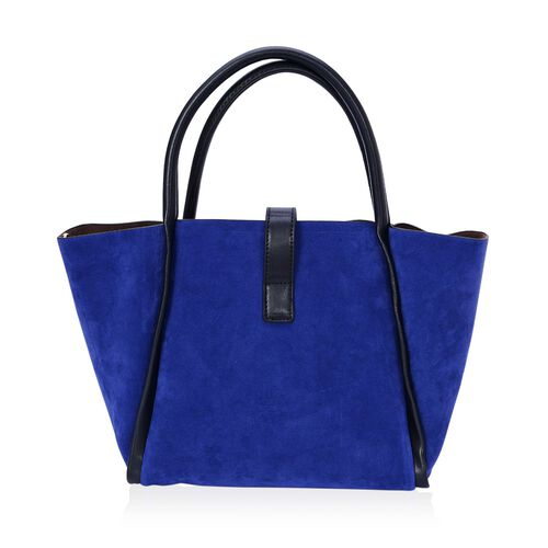 Set of 2 - Hadley Blue Tote Bag and Black Crossbody Bag with Adjustable and Removable Shoulder Strap (Size 38x23.5x13.5 and 33x19x12 Cm)