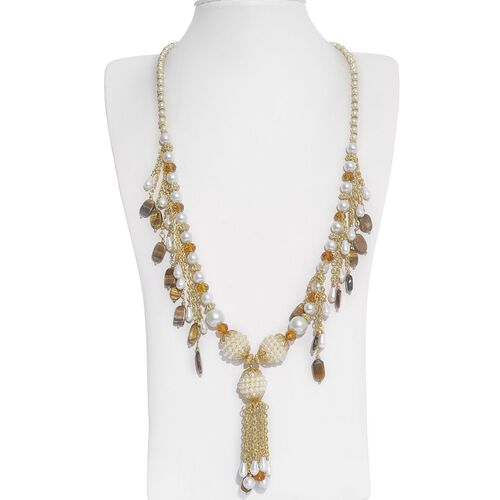 Jewels of India Glass Pearl, Tiger Eye and Glass Necklace (Size 24 with Extender) and Hook Earrings