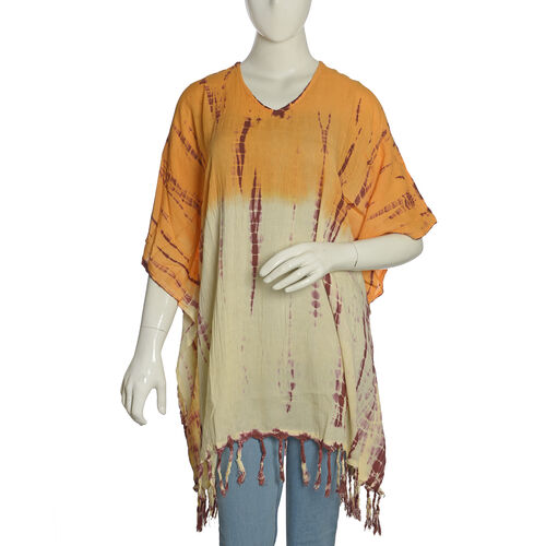 Summer Collection- V Neck Orange, Cream and Multi Colour Poncho/Beach Cover Up with Tassels (Free Size)