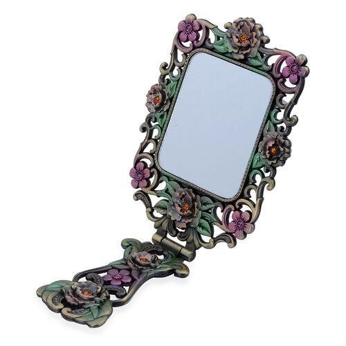 Multi Colour Enameled Floral and Peacock Pattern Foldable Compact Mirror in Gold Tone with Simulated Stone