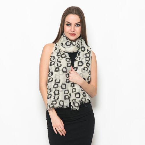 100% Merino Wool Woven Black Box Pattern Cream Colour Scarf (Size 175x70 Cm)