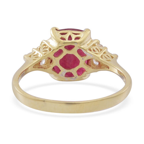 African Ruby (Cush 4.25 Ct), White Zircon Ring in 9K Gold Overlay Sterling Silver 4.550 Ct.