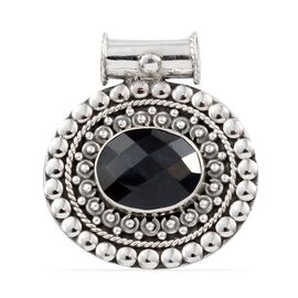 (Option 1) Madagascar Blue Sapphire (Ovl) Pendant in Sterling Silver 5.930 Ct.