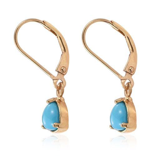 Arizona Sleeping Beauty Turquoise (Trl) Earrings in 14K Gold Overlay Sterling Silver 1.000 Ct.