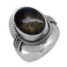 Royal Bali Collection Labradorite (Ovl) Solitaire Ring in Sterling Silver 6.500 Ct.