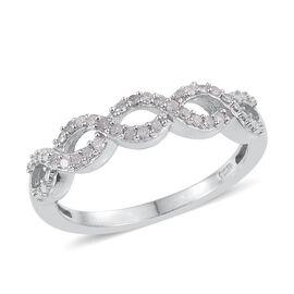 Diamond (Rnd) Ring in Platinum Overlay Sterling Silver 0.150 Ct.