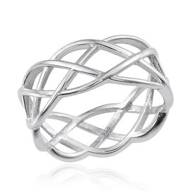 Platinum Overlay Sterling Silver Criss Cross Ring, Silver wt 2.50 Gms.