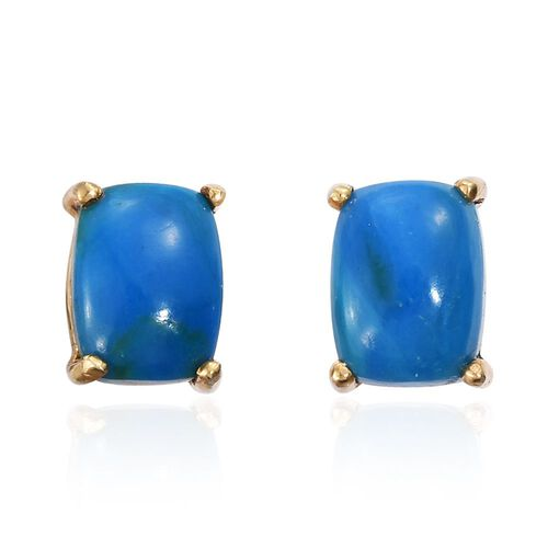 Natural Rare Opalina (Cush) Stud Earrings (with Push Back) in 14K Gold Overlay Sterling Silver 2.750 Ct.