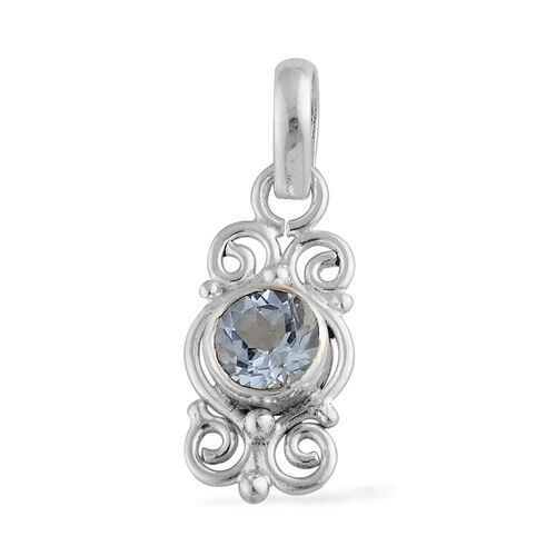 ARTISAN CRAFTED Swiss Blue Topaz Sterling Silver Pendant 0.85 Ct.