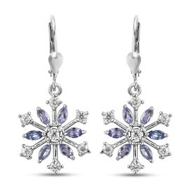 Tanzanite (Mrq), Natural Cambodian Zircon Snowflake Lever Back Earrings in Platinum Overlay Sterling Silver 2.250 Ct.