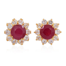 African Ruby (Rnd), White Topaz Stud Earrings (with Push Back) in 14K Gold Overlay Sterling Silver 5.500 Ct.