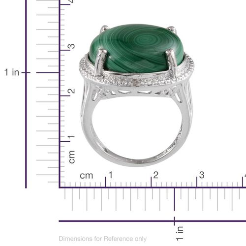 Malachite (Rnd 20.00 Ct), Diamond Ring in ION Plated Platinum Bond 20.010 Ct.