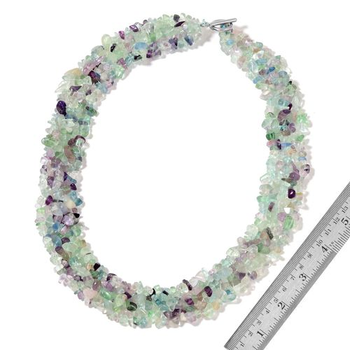 Fluorite Necklace (Size 18 with 2 inch Extender) in Silver Tone and Stretchable Bracelet (Size 7.5) 890.00 Ct.