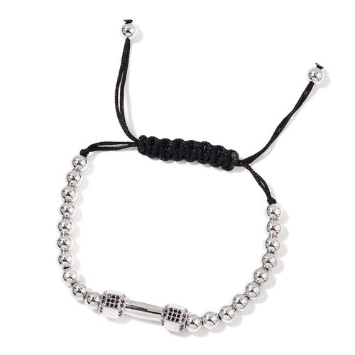 Simulated Black Diamond Adjustable Dumbbell Bracelet (Size 6 to 7) in Silver Tone
