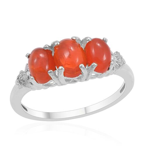Orange Ethiopian Opal (Ovl 0.53 Ct), Diamond Ring in Platinum Overlay Sterling Silver 1.000 Ct.