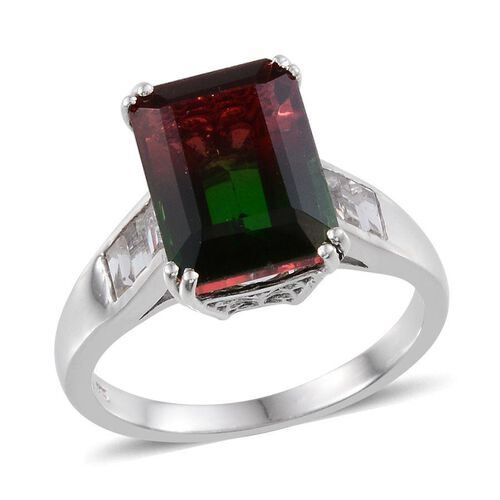 Tourmaline Colour Quartz (Oct 7.75 Ct), White Topaz Ring in Platinum Overlay Sterling Silver 8.750 Ct.