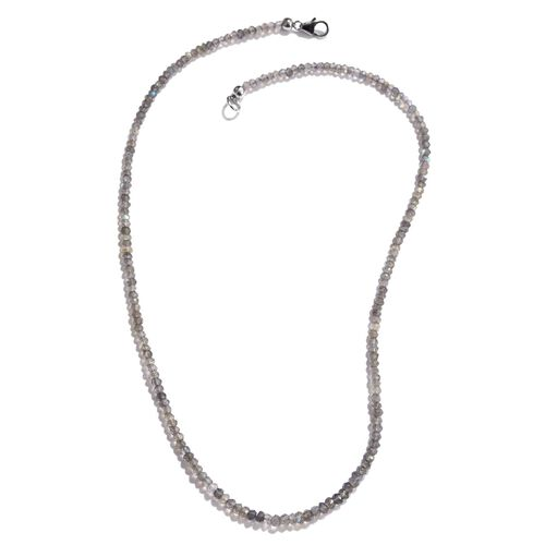 Labradorite Necklace (Size 18) in Platinum Overlay Sterling Silver 30.840 Ct.