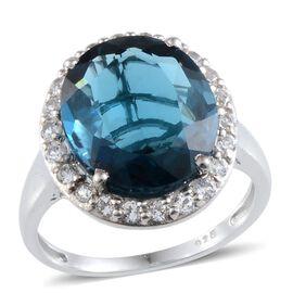 London Blue Topaz (Ovl 10.00 Ct), White Topaz Ring in Platinum Overlay Sterling Silver 10.750 Ct.
