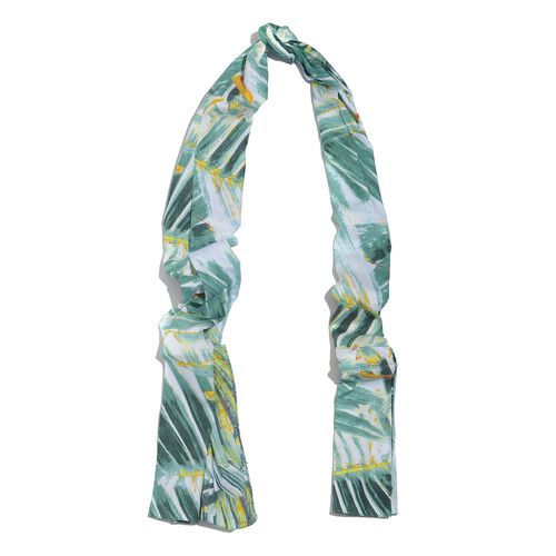 100% Natural Bamboo Fabric Green and Multi Colour Leaves Printed White Colour Scarf (Size 180x50 Cm)