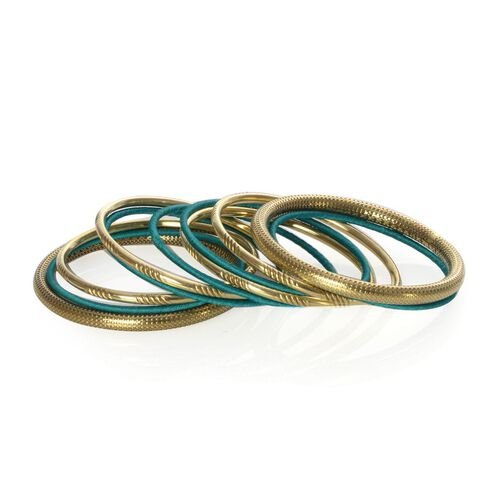 Jewels of India Handicraft Set of 11 Teal Green Bangle (Size 7.5) in Gold Tone