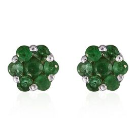 AA Brazilian Emerald (Rnd) Floral Stud Earrings (with Push Back) in Platinum Overlay Sterling Silver 0.750 Ct.