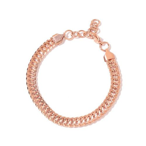 Franco Chain Necklace (Size 24) and Bracelet (Size 7.5 with 1 inch Extender) in Rose Gold Tone with Stainless Steel