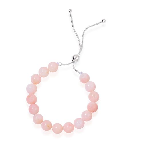 Natural Peruvian Pink Opal Adjustable Ball Beaded Bracelet (Size 6.5 to 8.5) in Rhodium Plated Sterling Silver 46.000 Ct.