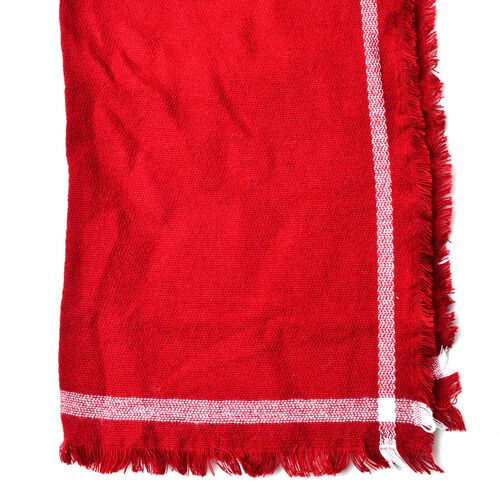 Designer Inspired - Red and White Colour Scarf with Fringes (Size 200x70 Cm)