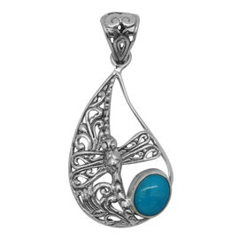 Royal Bali Collection Arizona Sleeping Beauty Turquoise (Ovl) Dragonfly Pendant in Sterling Silver 1.370 Ct.