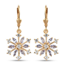 Snowflake 2.25 Carat Tanzanite, Natural Cambodian Zircon Silver Earrings in Gold Overlay with Lever Back.