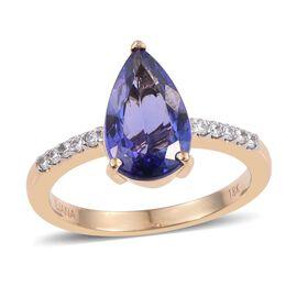 ILIANA 18K Yellow Gold 3 Carat AAA Tanzanite Pear Solitaire Ring with Diamond SI G-H.
